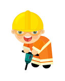 Cartoon character - construction worker Stock Images