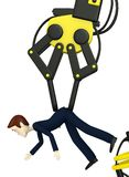 Cartoon character controling businessman on robotic arm Royalty Free Stock Images