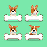 Cartoon character corgi dog with big bones Stock Images