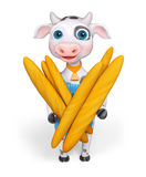 Cartoon character cow, holds baguette in hands isolated, 3d rend Royalty Free Stock Images