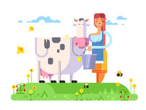 Cartoon character cow and milkmaid. Flat vector illustration Royalty Free Stock Images
