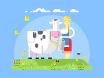 Cartoon character cow and milkmaid. Milk and dairy, farmer agriculture, animal farm, farming woman, flat vector illustration Royalty Free Stock Image