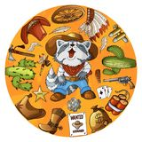 Cartoon character cowboy raccoon set of classic western items round design print stock illustration