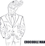 Cartoon character crocodile Stock Images