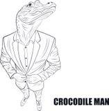Cartoon character crocodile. Praying crocodile. Funny vector illustration. Cartoon character crocodile Stock Photos