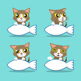 Cartoon character cute cat with big fish sign Stock Image