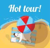 Cartoon character of Cute polar bear sunning on the beach Royalty Free Stock Photography