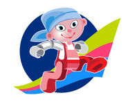 Cartoon Character Cute Robot Royalty Free Stock Images