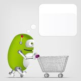 Cute Robot. Cartoon Character Cute Robot on Grey Gradient Background. Shopping. Vector EPS 10 Stock Images