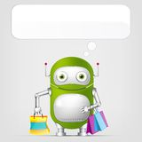 Cute Robot. Cartoon Character Cute Robot on Grey Gradient Background. Shopping. Vector EPS 10 Royalty Free Stock Image