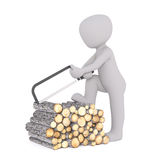 Cartoon Character Cutting Logs of Firewood Stock Images