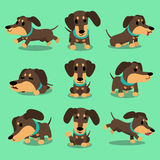 Cartoon character dachshund dog poses collection Stock Photo
