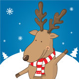 Cartoon character deer on the winter landscape Royalty Free Stock Photography