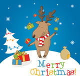 Cartoon character deer on the winter landscape Royalty Free Stock Photos