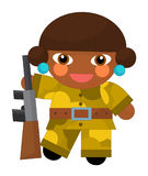 Cartoon character - desert soldier girl - isolated Stock Image