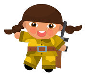 Cartoon character - desert soldier girl - isolated Royalty Free Stock Photos