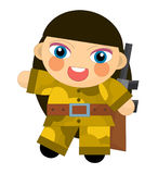 Cartoon character - desert soldier girl - isolated Stock Photography