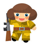Cartoon character - desert soldier girl - isolated Royalty Free Stock Images