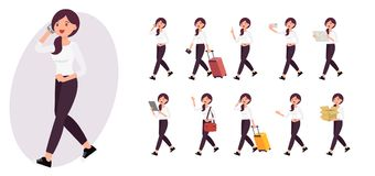 Cartoon character design female collection in ten different pose. And gesture Royalty Free Stock Photography