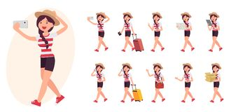 Cartoon character design female collection in ten different pose. And gesture Royalty Free Stock Photos