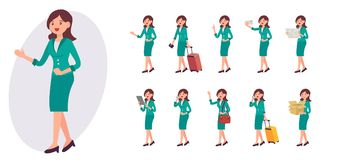 Cartoon character design female collection in ten different pose. And gesture Stock Photo