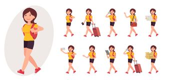Cartoon character design female collection in ten different pose. And gesture Royalty Free Stock Image
