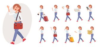 Cartoon character design female collection in ten different pose. And gesture Stock Photos