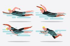 Cartoon character design illustration. Show various swimming. Cartoon character design illustration. Show various swimming postures Royalty Free Stock Photo