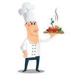 Cartoon character with a dish Royalty Free Stock Image