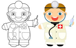 Cartoon character - doctor - coloring book Stock Image