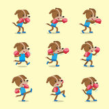Cartoon character dog doing kickboxing workout set. For design Stock Photos