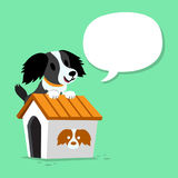Cartoon character dog and kennel with speech bubble Stock Photos