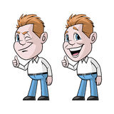 Cartoon character doing ok hand sign with two gestures Royalty Free Stock Image