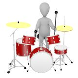 Cartoon character with drumset - playing 3 Stock Photography