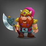 Cartoon character dwarf with axe for game. Royalty Free Stock Photo