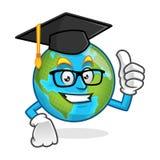 Graduation earth mascot wearing graduation cap, earth character, Stock Photo