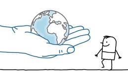 Cartoon character - Earth and man Stock Photography