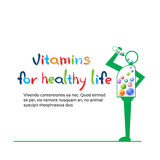 Cartoon Character Eat Vitamins Healthy LIfe Banner With Copy Space Royalty Free Stock Photos