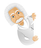 Einstein. Cartoon Character Einstein Isolated on Grey Gradient Background. Look out. Vector EPS 10 vector illustration