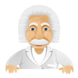 Einstein. Cartoon Character Einstein Isolated on Grey Gradient Background. Look out. Vector EPS 10 royalty free illustration