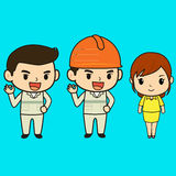 Cartoon character of engineer and officer Stock Photo