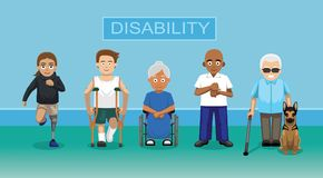 Disability People Cartoon Character Vector Illustration Royalty Free Stock Image