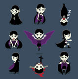 Halloween Character Big Head Poses Vampire Girl. Cartoon Character EPS10 File Format Royalty Free Stock Photo