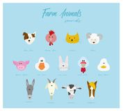 Cartoon character farm animals heads - vector vector illustration