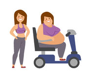Cartoon character of fat woman and girl sitting Stock Photo