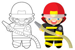 Cartoon character - fireman - coloring page Stock Photography