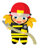 Cartoon character - fireman girl smiling and working isolated Royalty Free Stock Photos