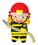 Cartoon character - fireman girl smiling and working isolated Royalty Free Stock Images