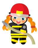 Cartoon character - fireman girl smiling and working isolated Stock Image