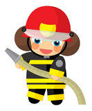 Cartoon character - fireman girl smiling and working isolated Stock Images